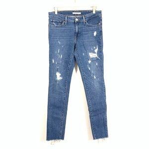 Levi's 711 Skinny Distressed Raw Hem Jeans